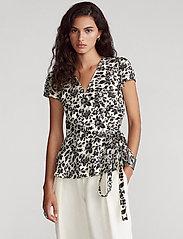 Polo Ralph Lauren - Floral Linen Wrap Blouse - short-sleeved blouses - 788 cream/black f - 0