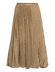 Houndstooth Pleated Skirt - BROWN/TAN HOUNDST