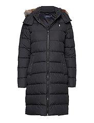 Faux Fur-Trim Down Coat - POLO BLACK