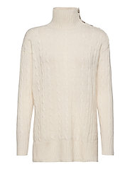 Buttoned-Placket Turtleneck - CREAM
