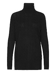 Buttoned-Placket Turtleneck - POLO BLACK