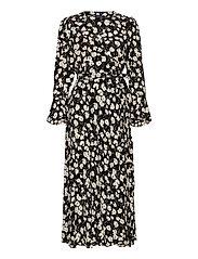Floral Wrap Dress - 766 BLACK/WHITE I