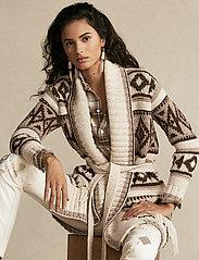 Polo Ralph Lauren - Fringe-Trim Shawl Cardigan - cardigans - oatmeal multi - 0