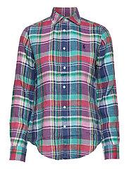Classic Fit Plaid Linen Shirt - 2640 PINK/BLUE