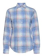 Classic Fit Plaid Linen Shirt - 781 WHITE/ BLUE
