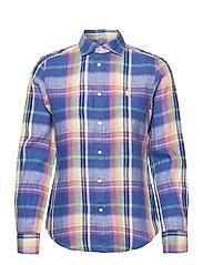 Classic Fit Plaid Linen Shirt - 943 BLUE/PINK