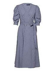 Cotton Gingham Wrap Dress - 886 BLUE/WHITE PL