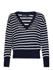 Striped Linen Sweater - HUNTER NAVY/BONE