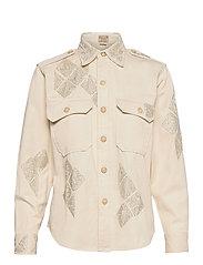 Beaded Cotton Twill Shirt - ENGLISH CREAM