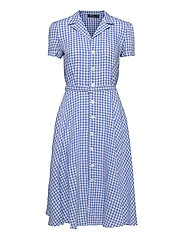 Gingham Linen Shirtdress - 918 MEDIUM BLUE/