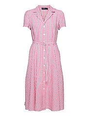 Gingham Linen Shirtdress - 918 RIBBON PINK/W