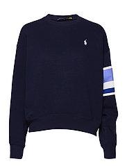 Striped-Trim Fleece Sweatshirt - CRUISE NAVY
