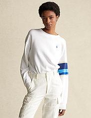 Polo Ralph Lauren - Striped-Trim Fleece Sweatshirt - sweatshirts - white - 0