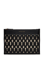 Chain-Link Leather Pouch - BLACK