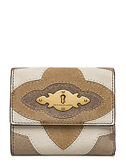 SUEDE PIECING-FLAP WALLET-WLT-SMA - TAUPE MULTI