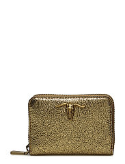 METALLIC LEATHER-SM ZIP WLLET-WLT-S - GOLD