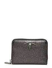 METALLIC LEATHER-SM ZIP WLLET-WLT-S - GUNMETAL