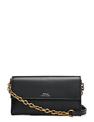 Leather Small Chain Wallet - BLACK