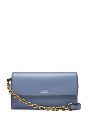 Leather Small Chain Wallet - CHAMBRAY