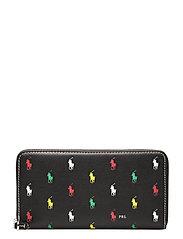 Pony Leather Zip Wallet - BLACK MULTI