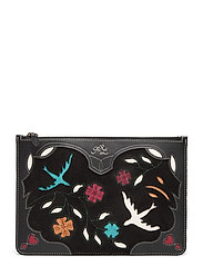 INLAY LEATHER-SMALL POUCH-PCH-SMA - BLACK MULTI