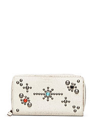 STUDDED DS LTHR-LONG ZIP WLT-WLT-SM - CREAM