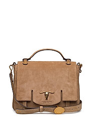 Leather Schooly Bag - BISQUE