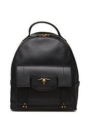 Steer-Head Leather Backpack - BLACK