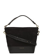Small Suede Leather Hobo Bag - BLACK