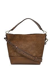 Small Suede Leather Hobo Bag - SADDLE