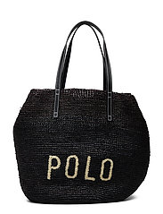 POLO RAFFIA/LEATHER-LG P RAF TTE-TT - BLACK