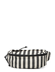 WIDE STRIPE CNVS-FANNY PACK-CXB-SMA - BLACK/NATURAL