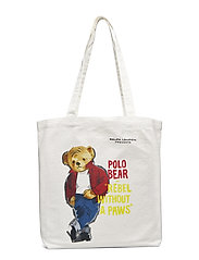 CANVAS REBEL BEAR-BOOK TOTE-TTE-MED - ECRU