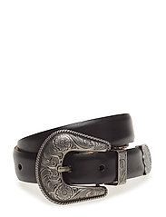 Floral-Engraved Leather Belt - BLACK
