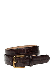 Crocodile-Embossed Belt - CHOCOLATE