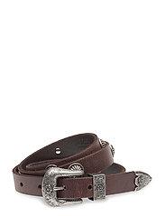 Western Calfskin Belt - DARK BROWN