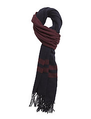 WOOL-BLANKET STRP SCARF - BRIGHT NAVY/CNTRY