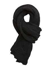 CABLE WOOL BLEND-ROPE CABLE SCARF - BLACK