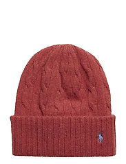 WOOL/CASH-WL CSH CABLE CUF HAT - RED SLATE HTHR