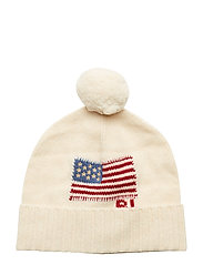 Flag Wool Pom-Pom Hat - CREAM