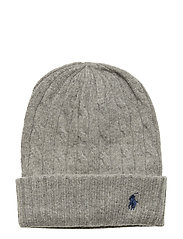 WOOL CASH-CABLE-HAT - FAWN GREY HTHR