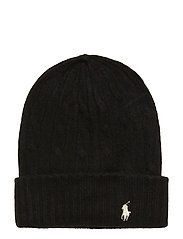 WOOL CASH-CABLE-HAT - POLO BLACK