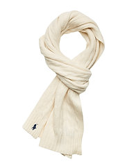 WOOL/CASHMERE-CABLE SCARF-OBS - CREAM