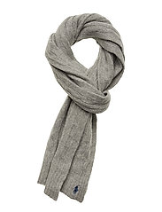 WOOL/CASHMERE-CABLE SCARF-OBS - FAWN GREY HTHR