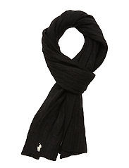WOOL/CASHMERE-CABLE SCARF-OBS - POLO BLACK