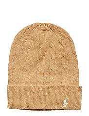 WOOL/CASHMERE-CABLE-HAT - CAMEL MELANGE
