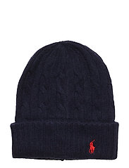 WOOL/CASHMERE-CABLE-HAT - NAVY
