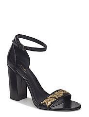 Kierra Bullion Calfskin Sandal - BLACK