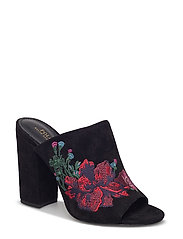 Kinley Embroidered Suede Mule - BLACK