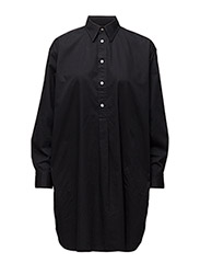 LS RELAXED SHIRTDRESS - BLACK